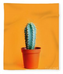 Green Cactus In Decor Pot Over Bright Orange Pastel Background.  Fleece Blanket