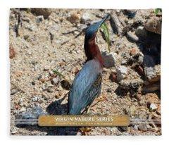 Green Heron Strut - Virgin Nature Series Fleece Blanket