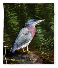 Green Heron With Reflection Fleece Blanket