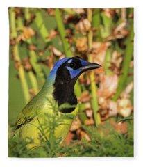 Green Jay In The Grass Fleece Blanket