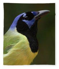 Green Jay Portrait Fleece Blanket