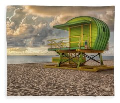 Green Lifeguard Stand Fleece Blanket
