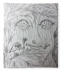 Green Man Of The Forest Fleece Blanket