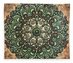 Green Mandala Fleece Blanket