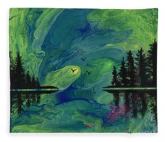 Green Pour And Pines Fleece Blanket