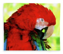 Green-winged Macaw Fleece Blanket