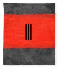 Grey And Red Abstract I Fleece Blanket