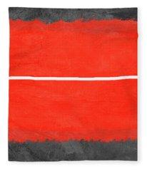 Grey And Red Abstract II Fleece Blanket