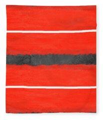 Grey And Red Abstract IIi Fleece Blanket