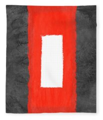 Grey And Red Abstract Iv Fleece Blanket