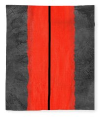 Grey And Red Abstract V Fleece Blanket