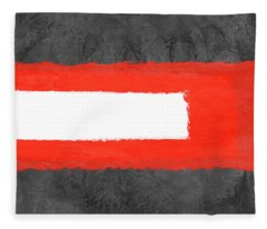 Grey And Red Abstract Vi Fleece Blanket