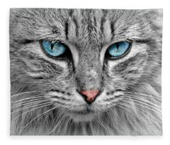 Grey Cat With Blue Eyes Fleece Blanket