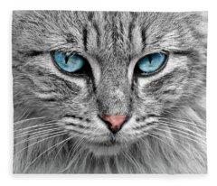 Grey Cat With Blue Eyes Fleece Blanket