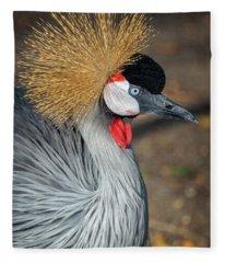 Grey Crowned Crane Fleece Blanket