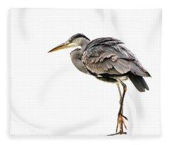 Grey Heron On Snow Fleece Blanket