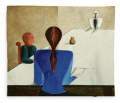 Group At Table, 1923 Fleece Blanket