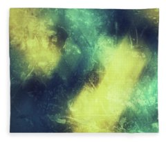 Grungy Colorful Watercolor Abstract Art With Muted Yellows, Blues And Greens Fleece Blanket