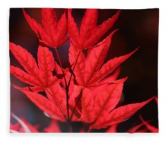 Guardsman Red Japanese Maple Leaves Fleece Blanket