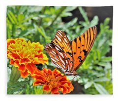 Gulf Fritillary On Orange Marigolds Fleece Blanket