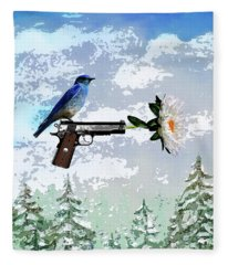 Bluebird Of Happiness- Flower In A Gun Fleece Blanket