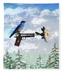 Bluebird Of Happiness- Flower In A Gun Fleece Blanket