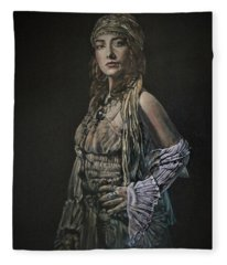 Gypsy Portrait Fleece Blanket