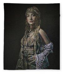 Gypsy Portrait Fleece Blanket