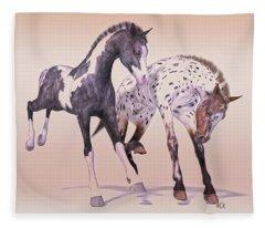 Gypsy Vanner And Leopard Appaloosa Best Friends Fleece Blanket