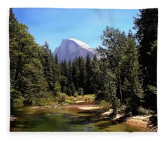 Half Dome From Ahwanee Bridge - Yosemite Fleece Blanket