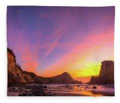 Half Moon Sunset Fleece Blanket