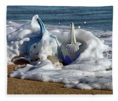 Halloween Blue And White Pumpkins In The Surf Fleece Blanket