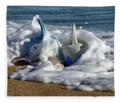 Halloween Blue And White Pumpkins In The Surf Fleece Blanket
