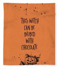 Halloween Bribed With Chocolate Fleece Blanket