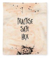 Halloween Practise Safe Hex Fleece Blanket