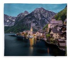Hallstatt Village At Dusk, Austria Fleece Blanket