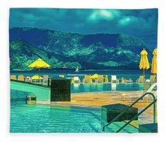 Hanalei Bay Bali Hai Kauai Fleece Blanket