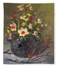 Handbuilt Pufferfish Teapot With Spring Flowers Fleece Blanket