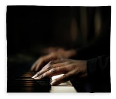 Hands Playing Piano Close-up Fleece Blanket
