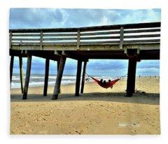 Hanging At Virginia Beach  Fleece Blanket