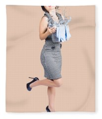 Happy Cleaning Woman Kicking Up Dirt And Grime Fleece Blanket