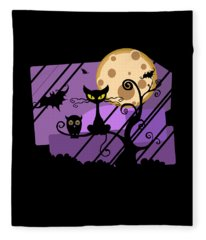 Happy Halloween Cat Fleece Blanket