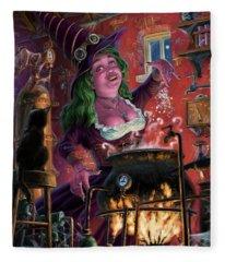 Happy Steam Punk Witch Fleece Blanket