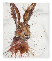 Hare Portrait Fleece Blanket