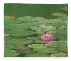 Harmonious Pink Waterlily Fleece Blanket