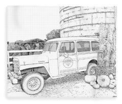 Harvest At Magnolia - Ink Fleece Blanket