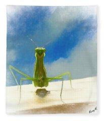 Head On View Of Praying Mantis. Fleece Blanket