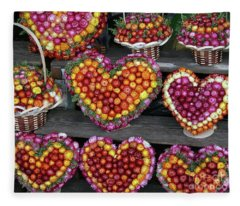Hearts Of Flowers Fleece Blanket