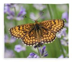 Heath Fritillary On The Lavender Fleece Blanket