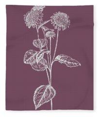 Helianthus Purple Flower Fleece Blanket